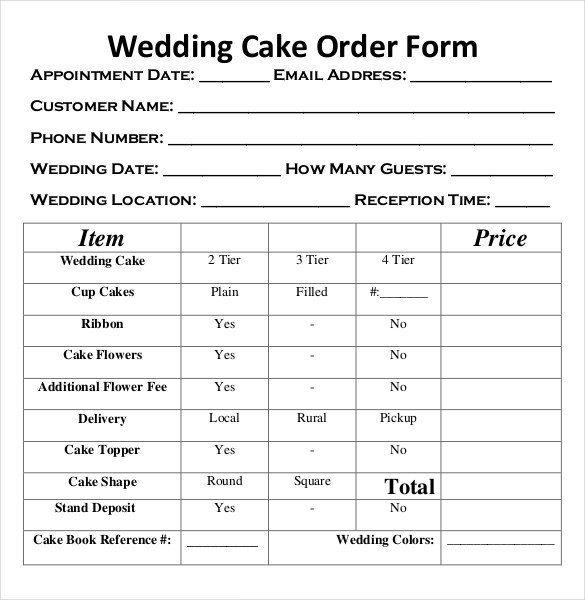 Cake order form Templates Wedding order Template – 38 Free Word Pdf Psd Vector