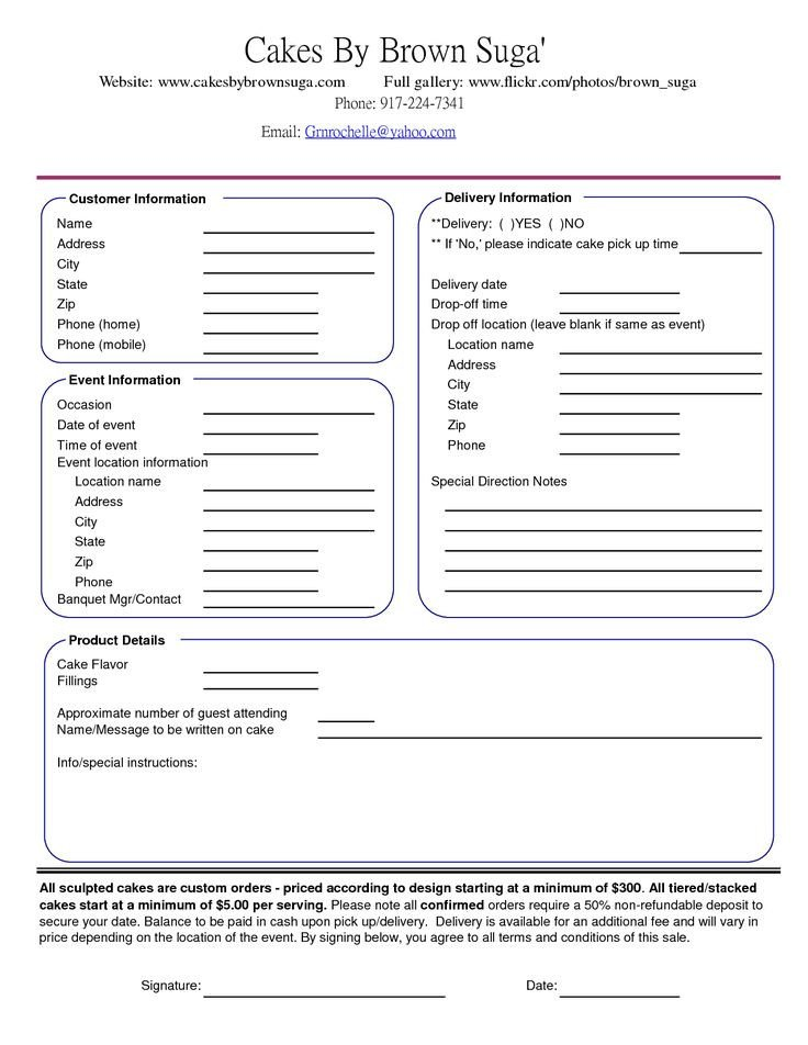 Cake order forms Templates 23 Best Images About Cake order forms On Pinterest