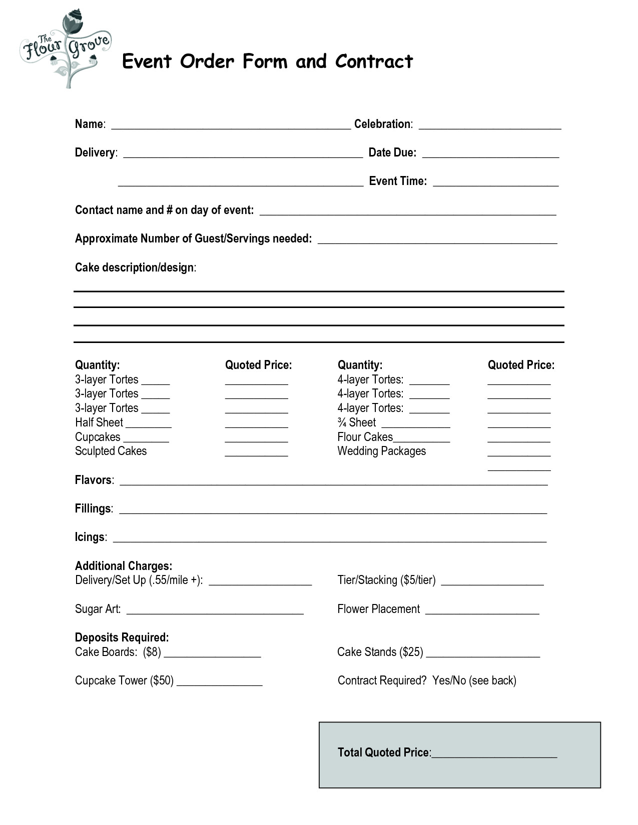 Cake order forms Templates Cake order Contract event order form and Contract