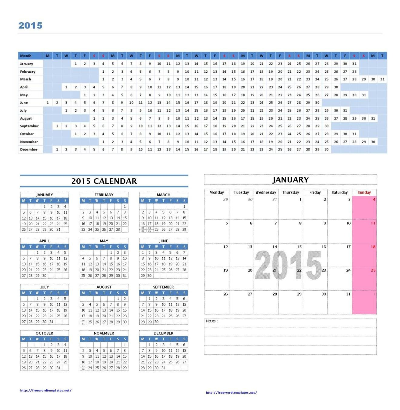 Calendar Template for Word 2015 Calendar Templates