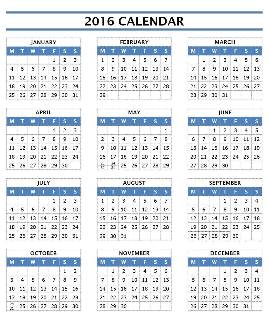 Calendar Template for Word 2016 Calendar Templates