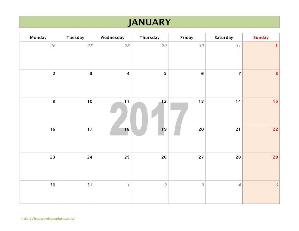 Calendar Template for Word 2017 Calendar Templates