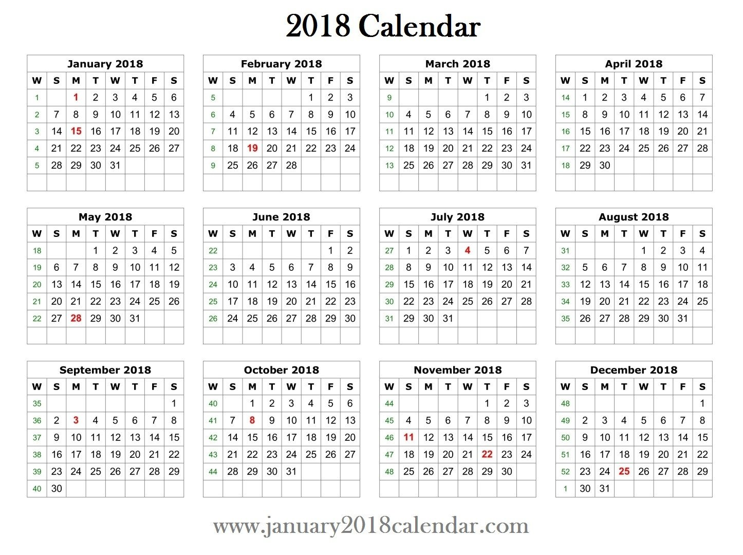 Calendar Template for Word 2018 Printable Word Calendar Template