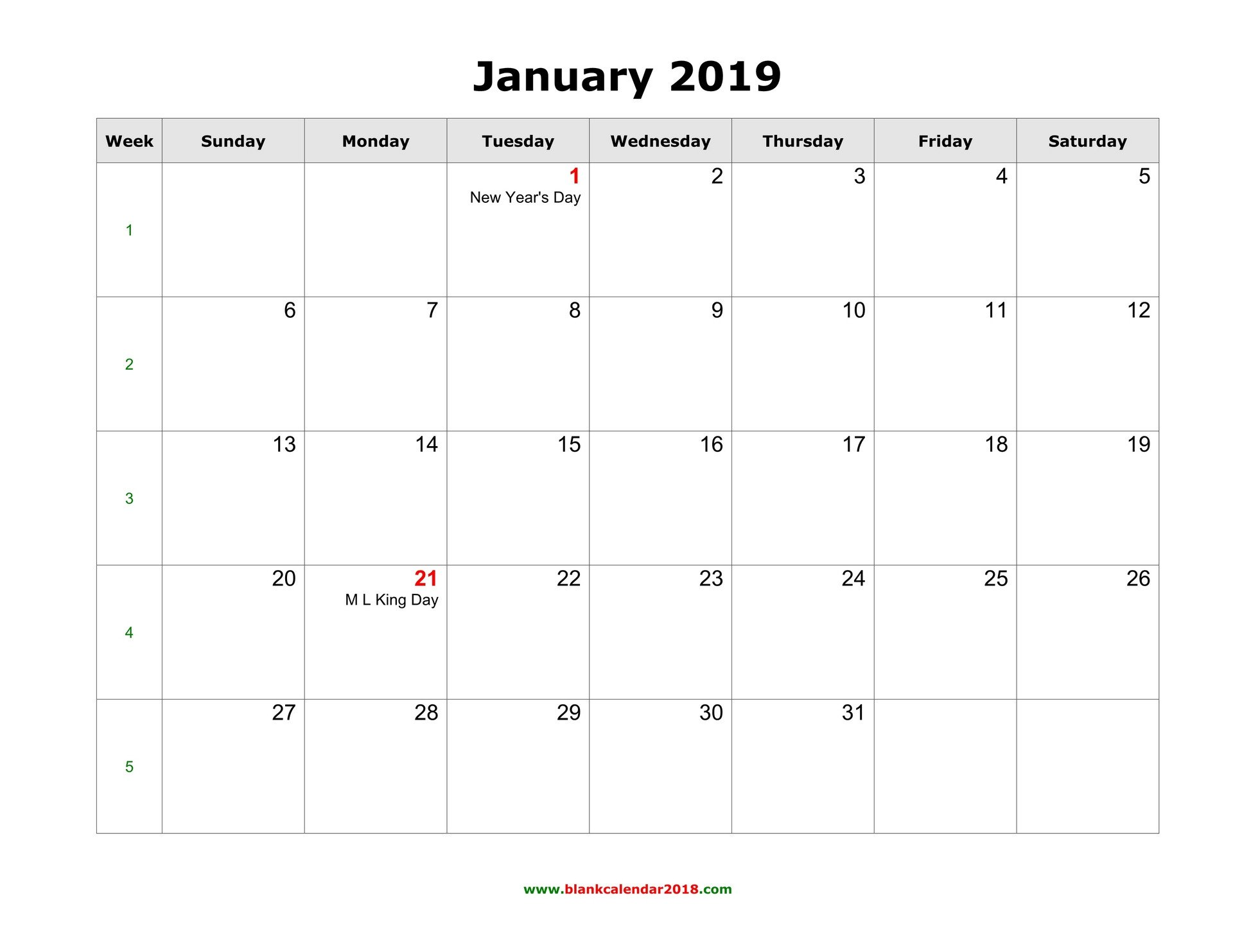 Calendar Template for Word Blank Calendar 2019