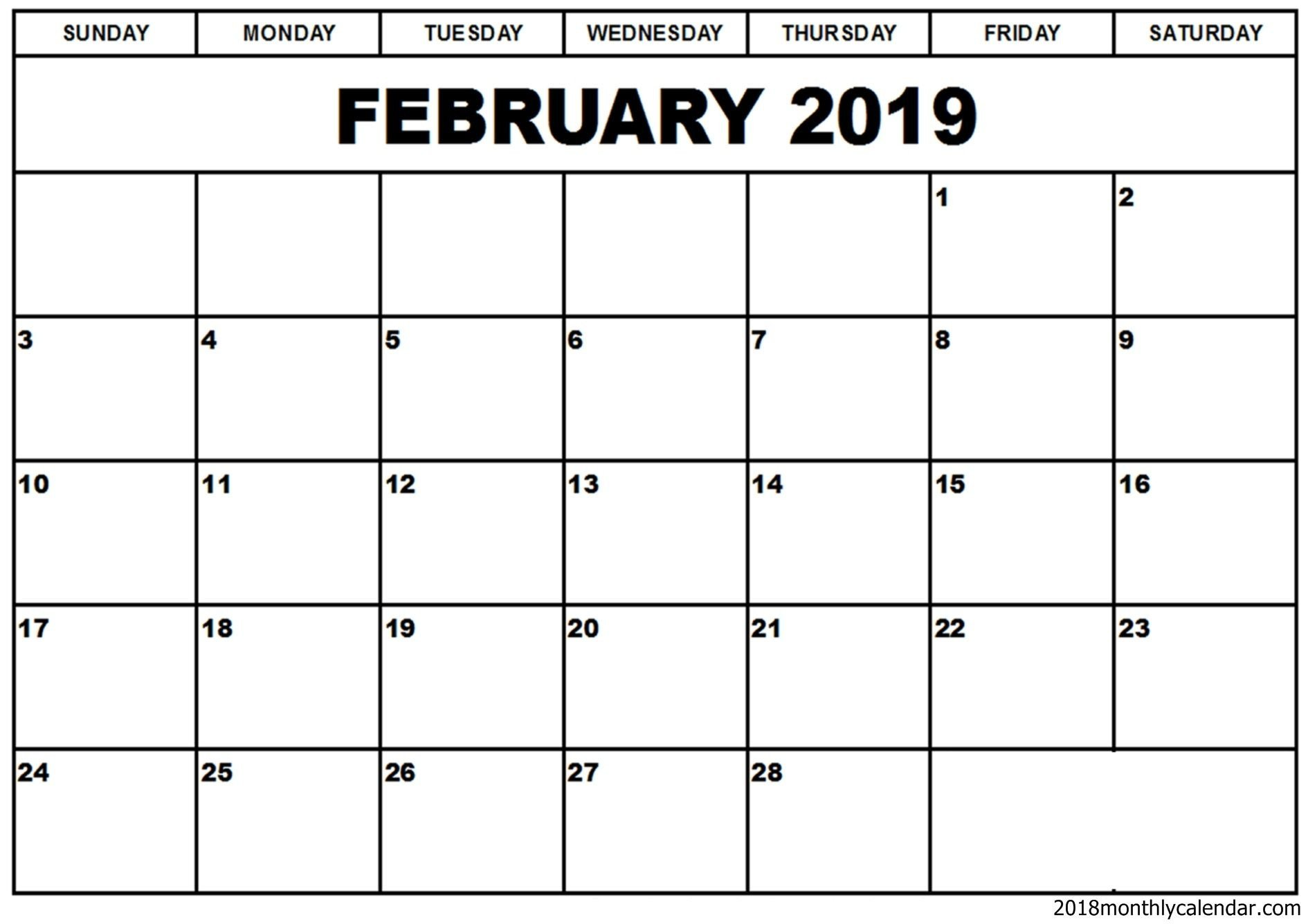 Calendar Template for Word February 2019 Calendar Word Template