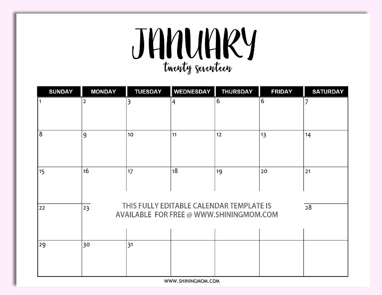 Calendar Template for Word Free Printable Fully Editable 2017 Calendar Templates In