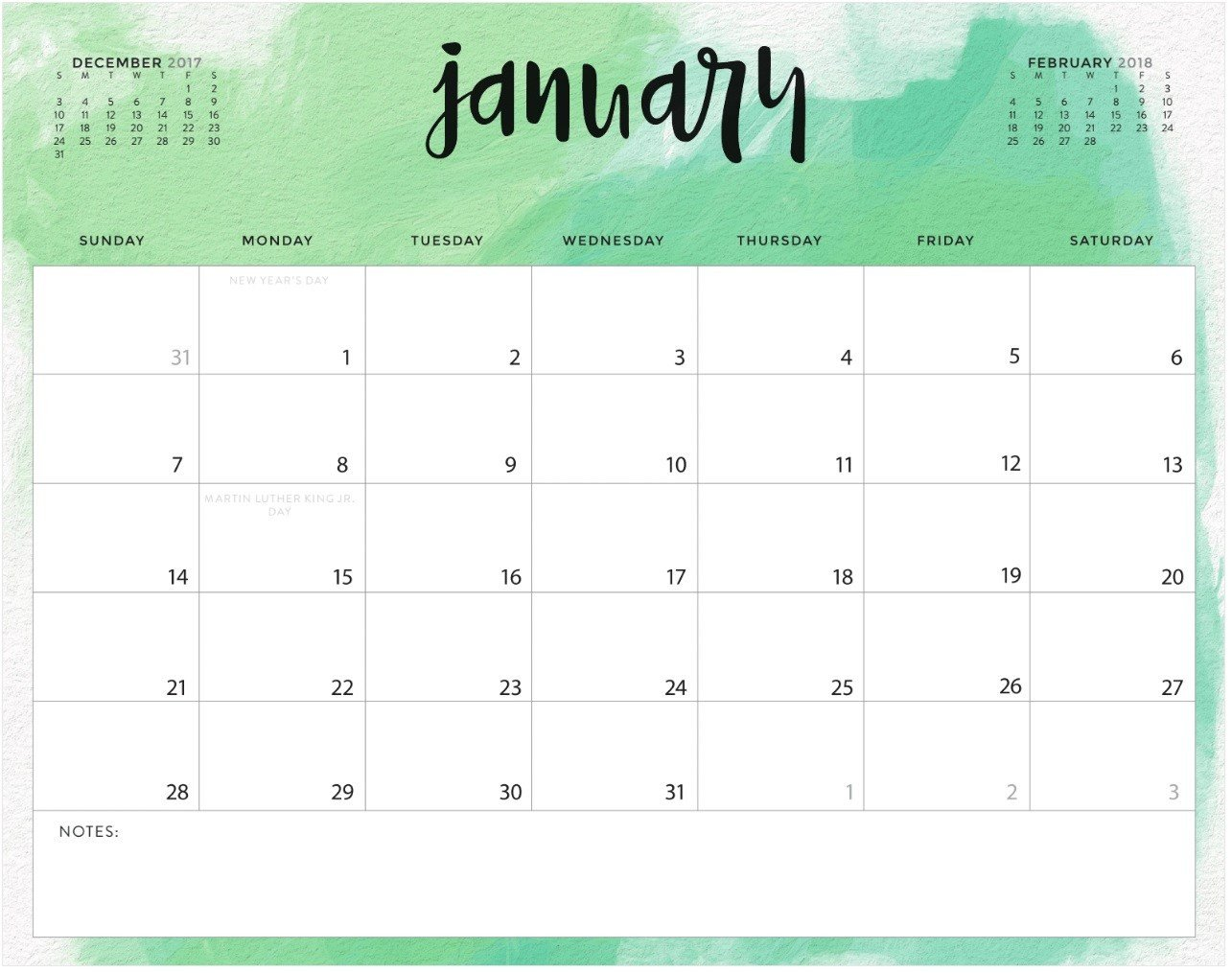 Calendar Template for Word January 2018 Calendar Fillable Template