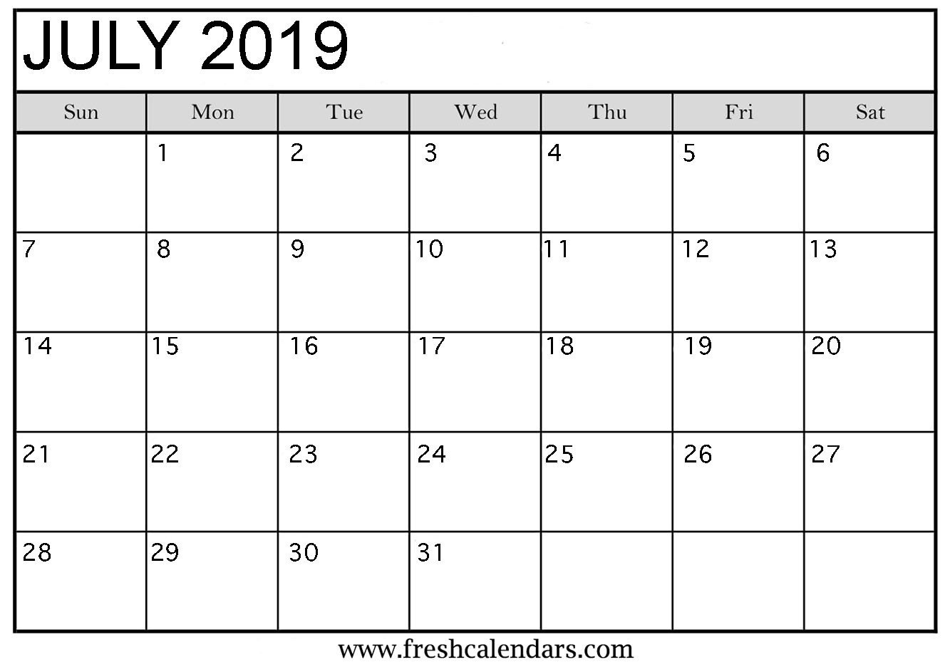 Calendar Template for Word July 2019 Calendar Printable Fresh Calendars