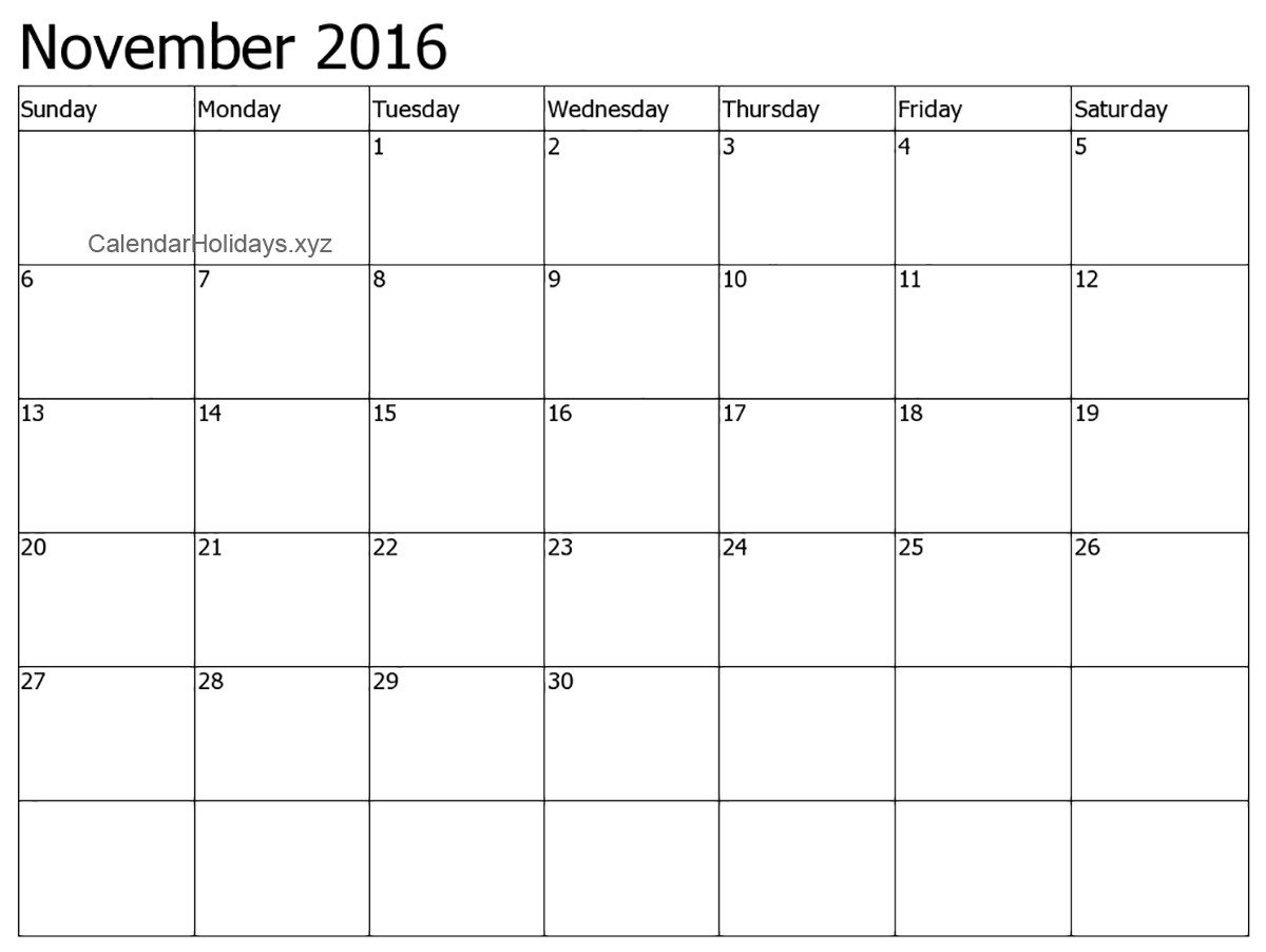 Calendar Template for Word November 2016 Word Calendar Wordcalendar Calendartemplates