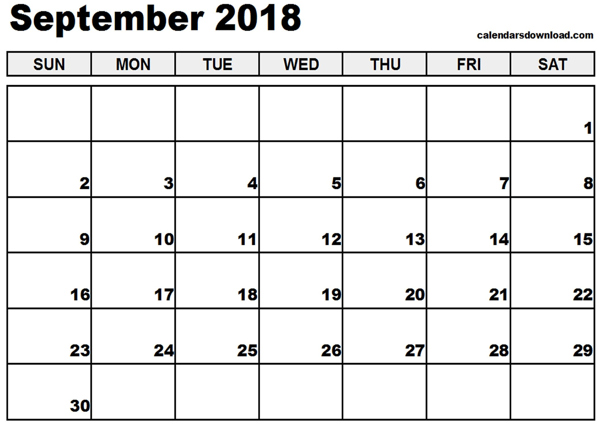Calendar Template for Word September 2018 Calendar Word – Printable Month Calendar