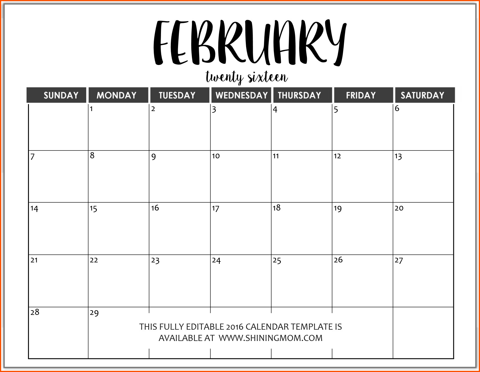 Calendar Template for Word Word Calendar Template
