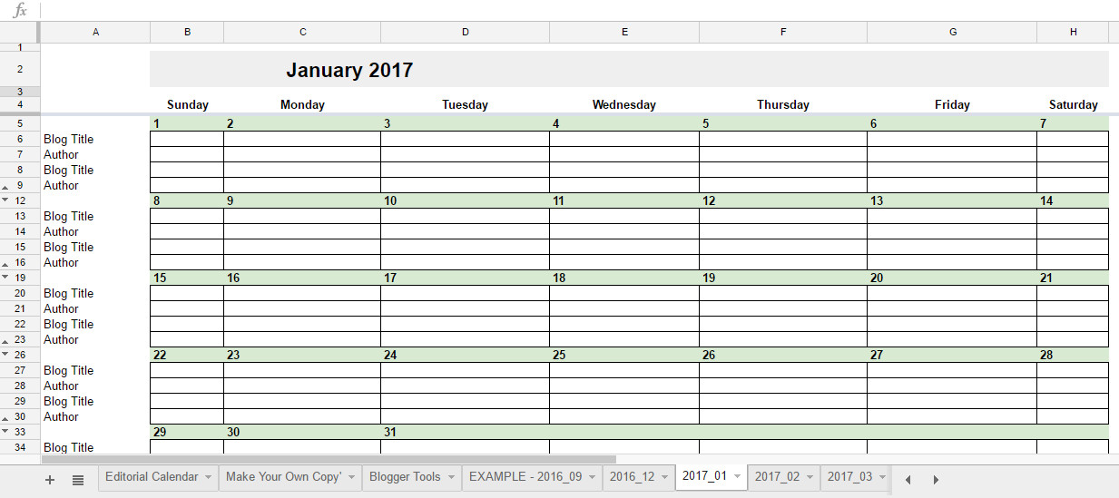 Calendar Template Google Sheets Free 2017 Editorial Calendar In Google Spreadsheets