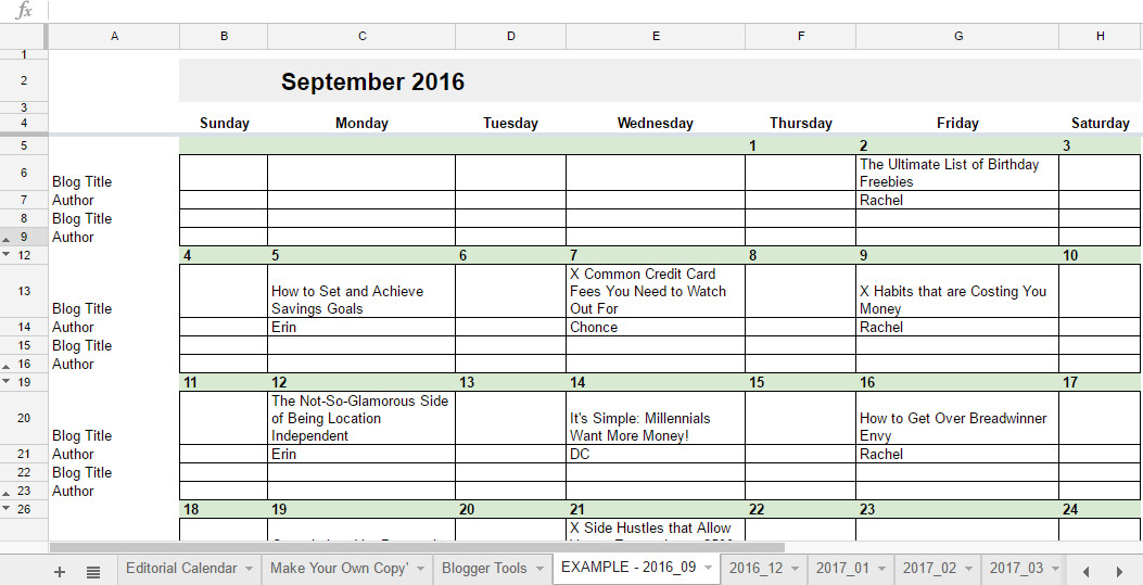 Calendar Template Google Sheets Free 2019 Editorial Calendar In Google Sheets