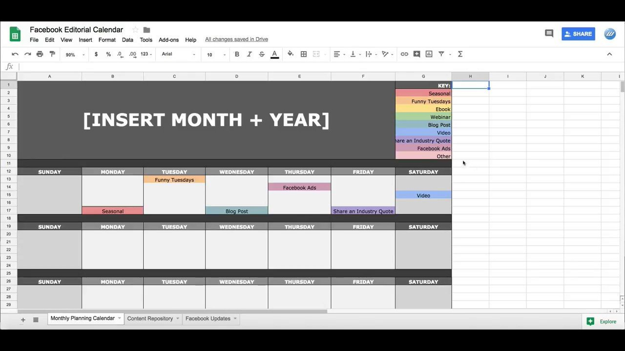 Calendar Template Google Sheets social Media Editorial Calendar In Google Sheets