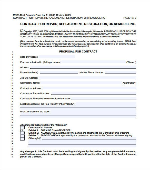 California Home Improvement Contract Template 9 Home Remodeling Contract Templates Word Pages Docs