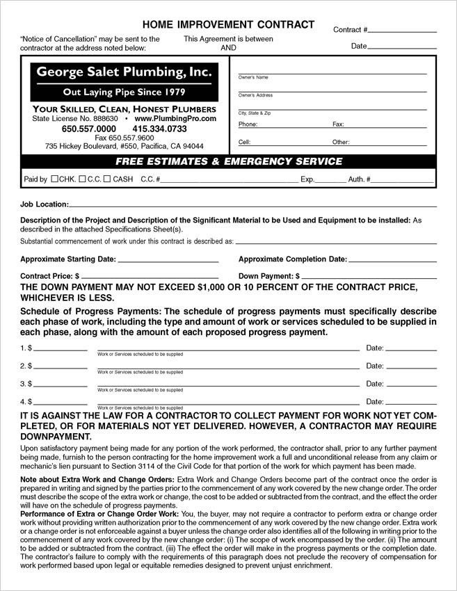 California Home Improvement Contract Template Custom Pdf California Home Improvement Contracts