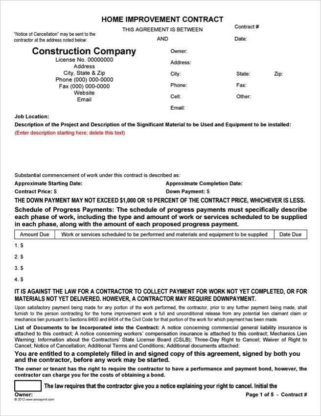 California Home Improvement Contract Template Word & Pdf Home Improvement Contract forms