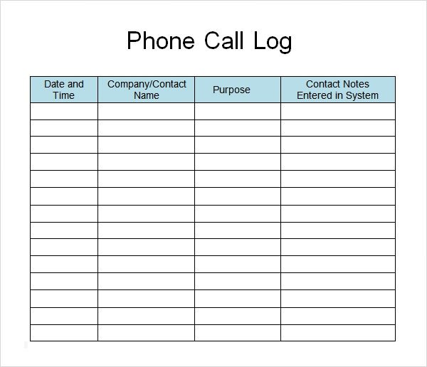 Call Log Template Excel 13 Sample Call Log Templates Pdf Word Excel Pages