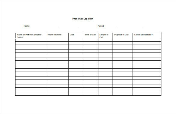 Call Log Template Excel 15 Call Log Templates Doc Pdf Excel