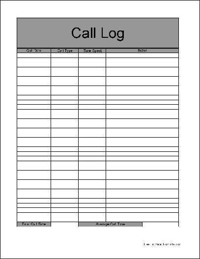 Call Log Template Excel 4 Sales Call Log Excel Templates Excel Xlts
