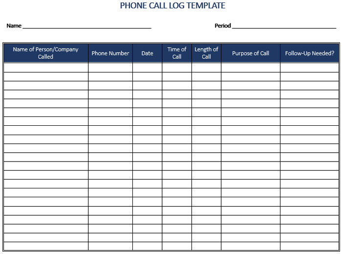 Call Log Template Excel 5 Call Log Templates to Keep Track Your Calls
