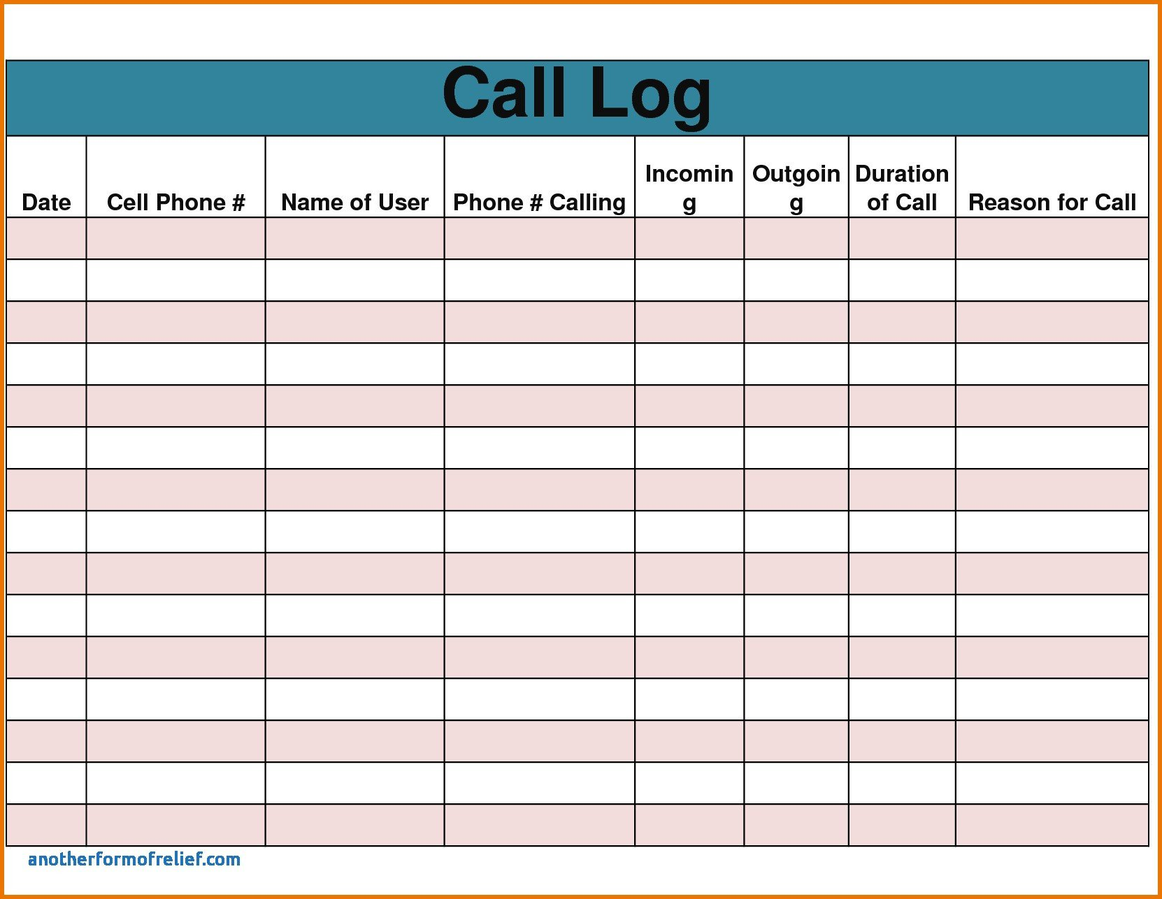 Call Log Template Excel Sales Call Report – Emmamcintyrephotography