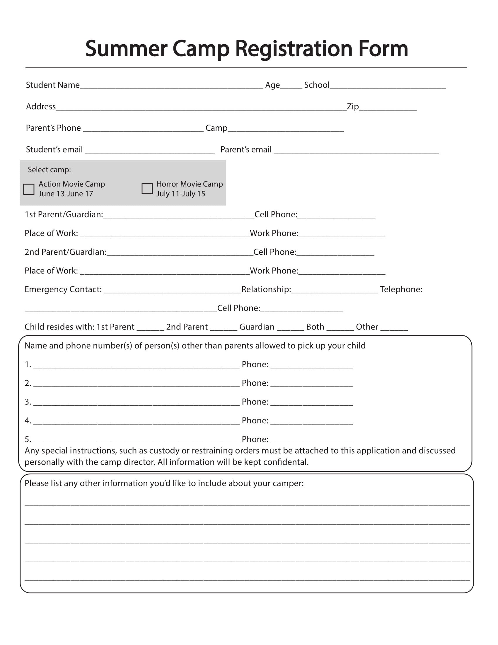 Camp Registration forms 10 Printable Summer Camp Registration forms Pdf