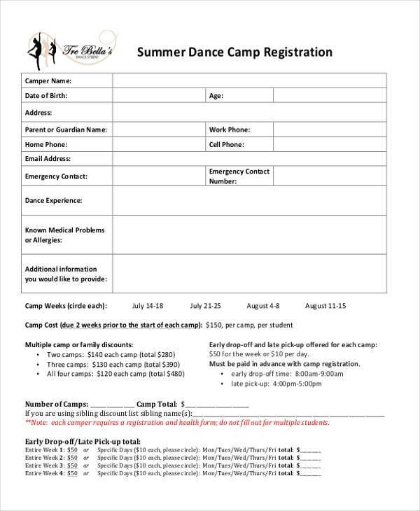 Camp Registration forms 10 Summer Camp Registration form Samples Free Sample
