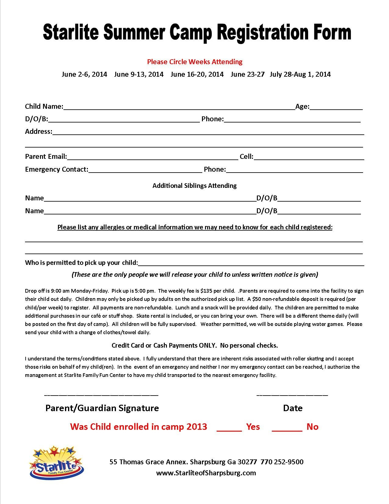 Camp Registration forms Affordable Summer Camp In the Newnan Peachtree City area