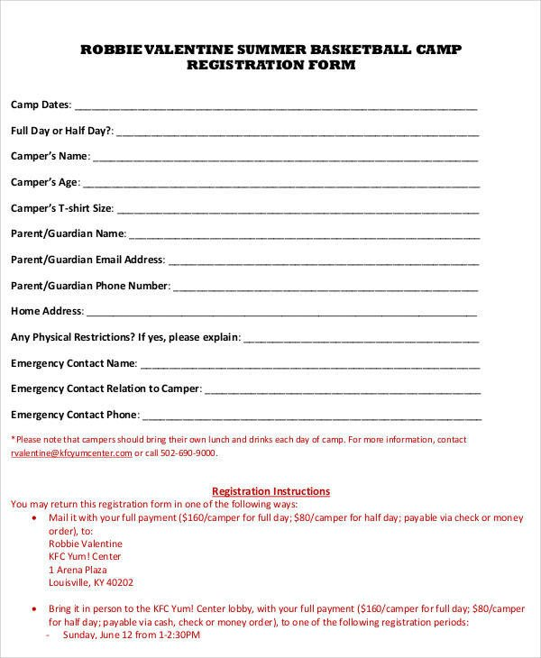 Camp Registration forms Registration forms In Pdf
