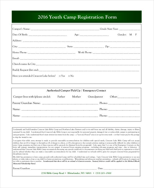 Camp Registration forms Sample Camp Registration form 11 Free Documents In Pdf