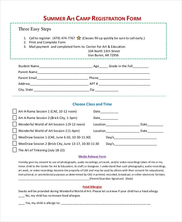 Camp Registration forms Sample Summer Camp Registration form 10 Free Documents