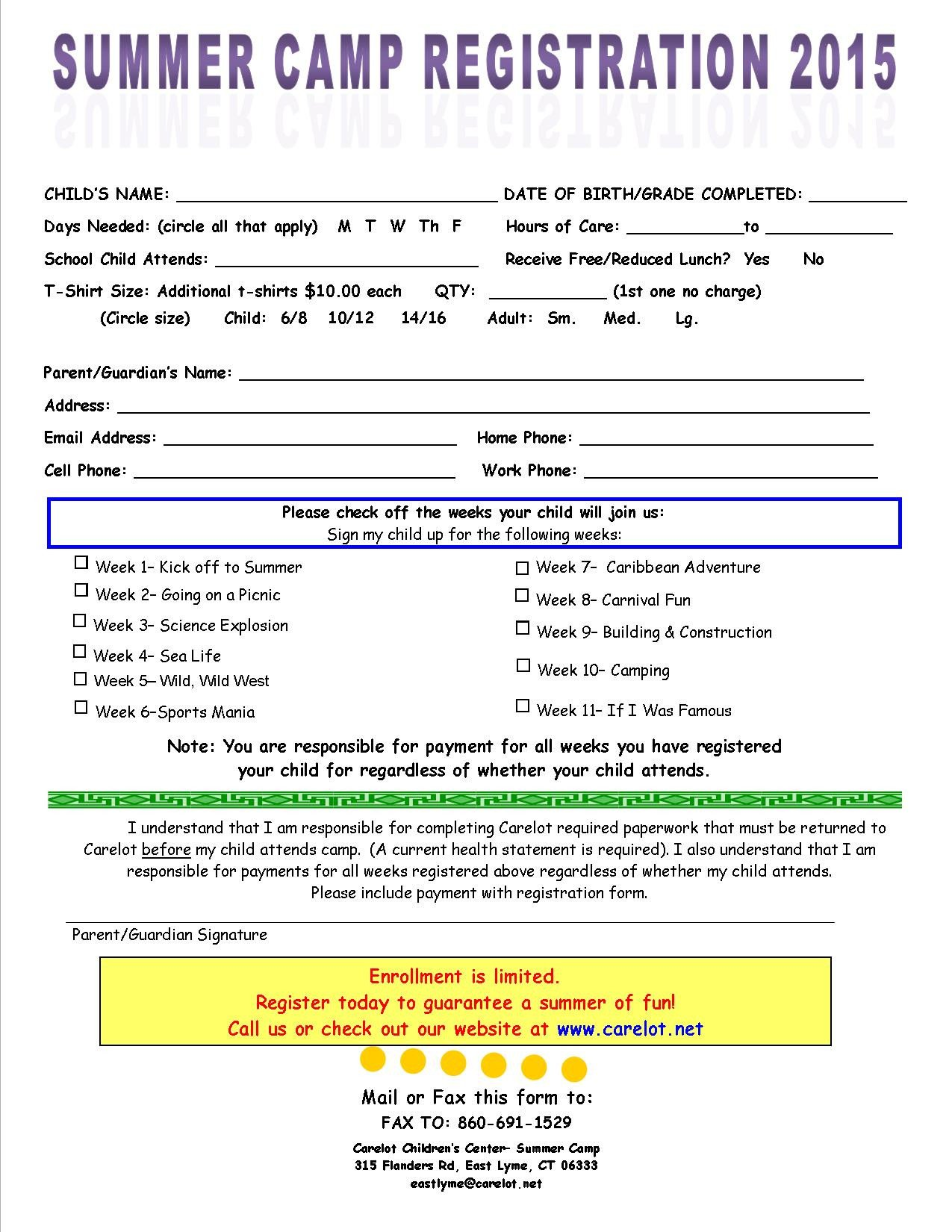Camp Registration forms Special events Carelot Children S Center