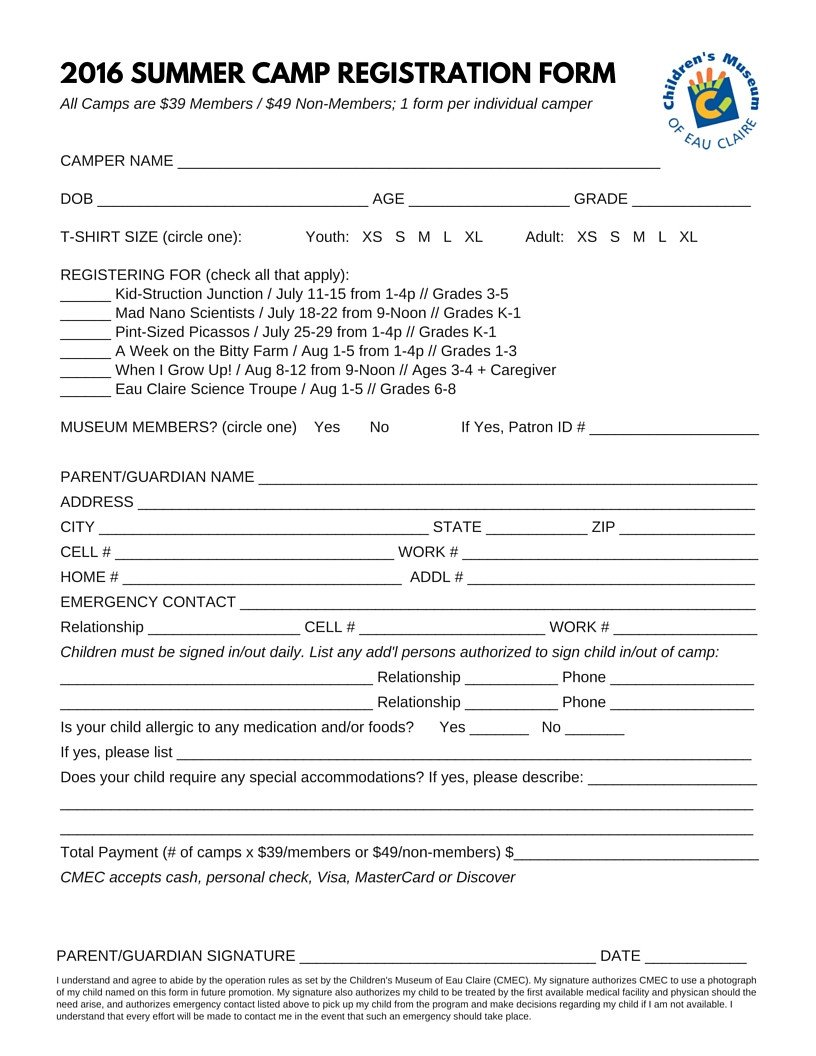 Camp Registration forms Summer Camps at the Children S Museum Of Eau Claire