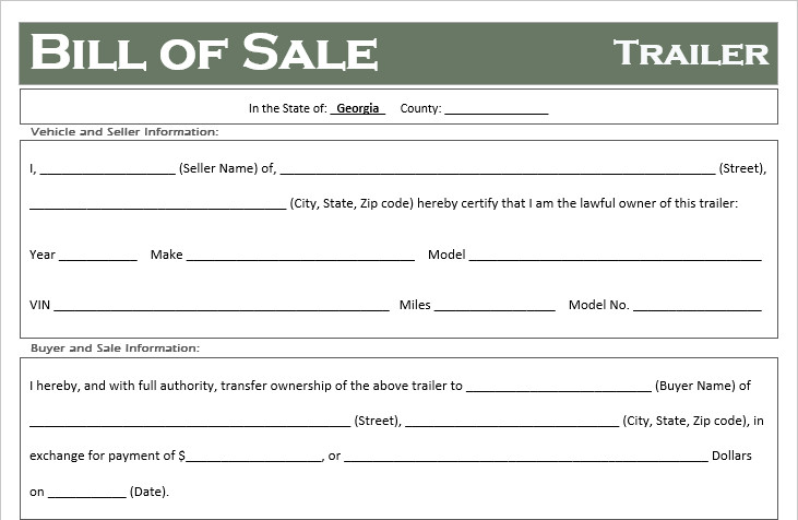 Camper Bill Of Sale Free Georgia Trailer Bill Of Sale Template F Road Freedom
