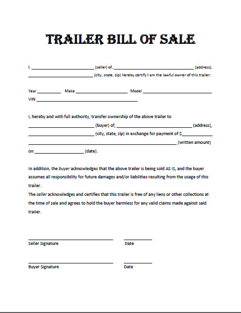 Camper Bill Of Sale Free Printable Trailer Bill Of Sale All States F