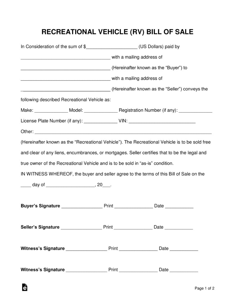 Camper Bill Of Sale Free Recreational Vehicle Rv Bill Of Sale form Word