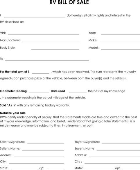 Camper Bill Of Sale Rv Bill Of Sale Explained Templates&forms