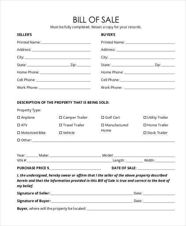 Camper Bill Of Sale Trailer Bill Of Sale form 9 Free Documents In Word Pdf