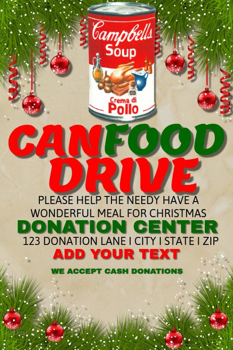 Canned Food Drive Flyer Template Can Food Drive Template