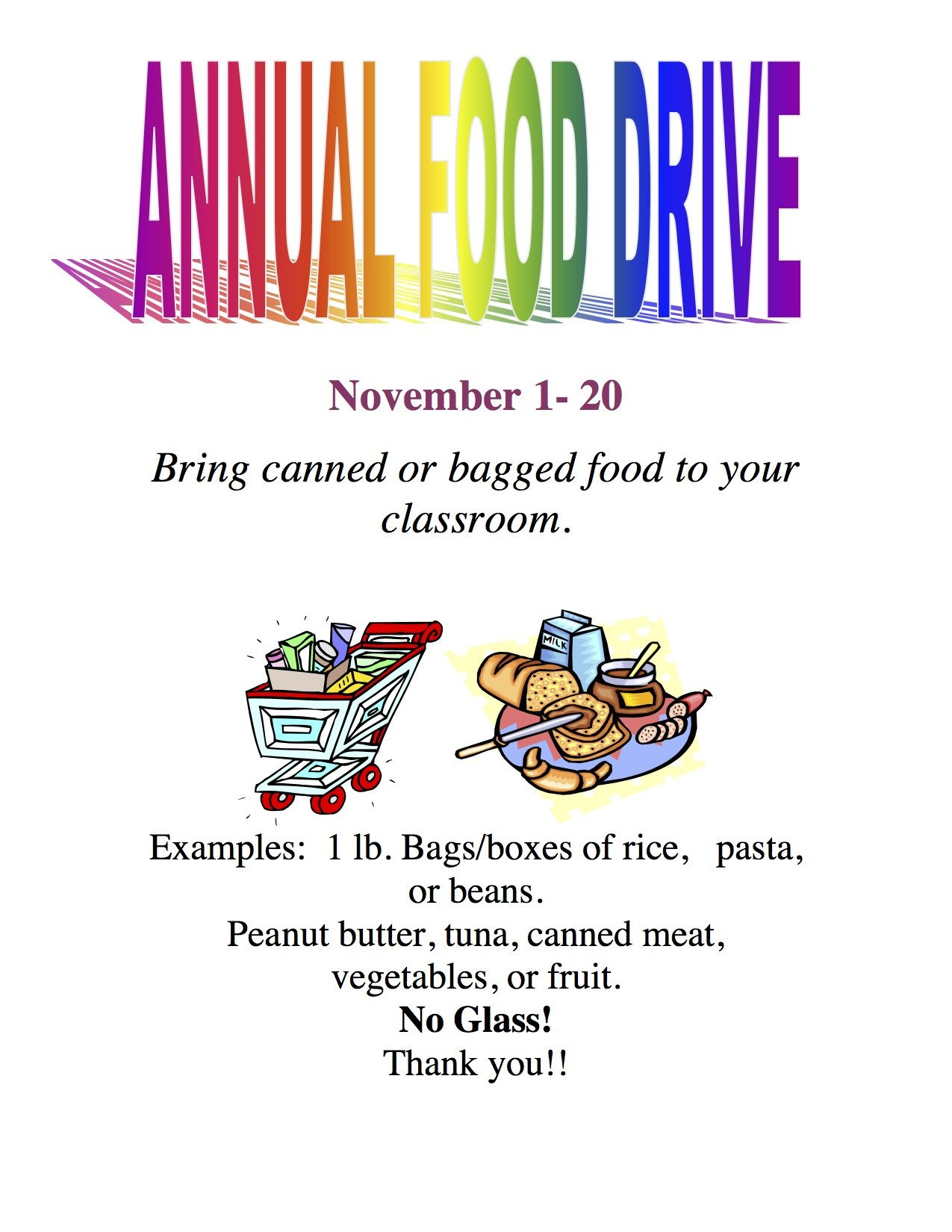 Canned Food Drive Flyer Template Current events… Camarena Elementary
