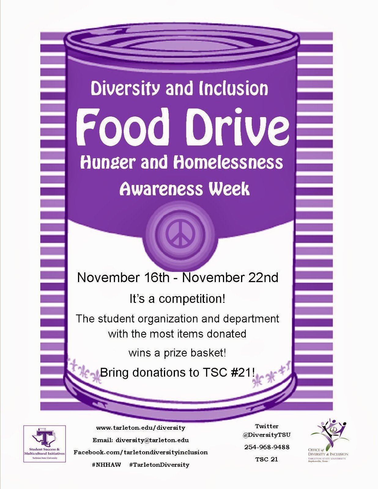 Canned Food Drive Flyer Template Diversity and Inclusion Tarleton State University