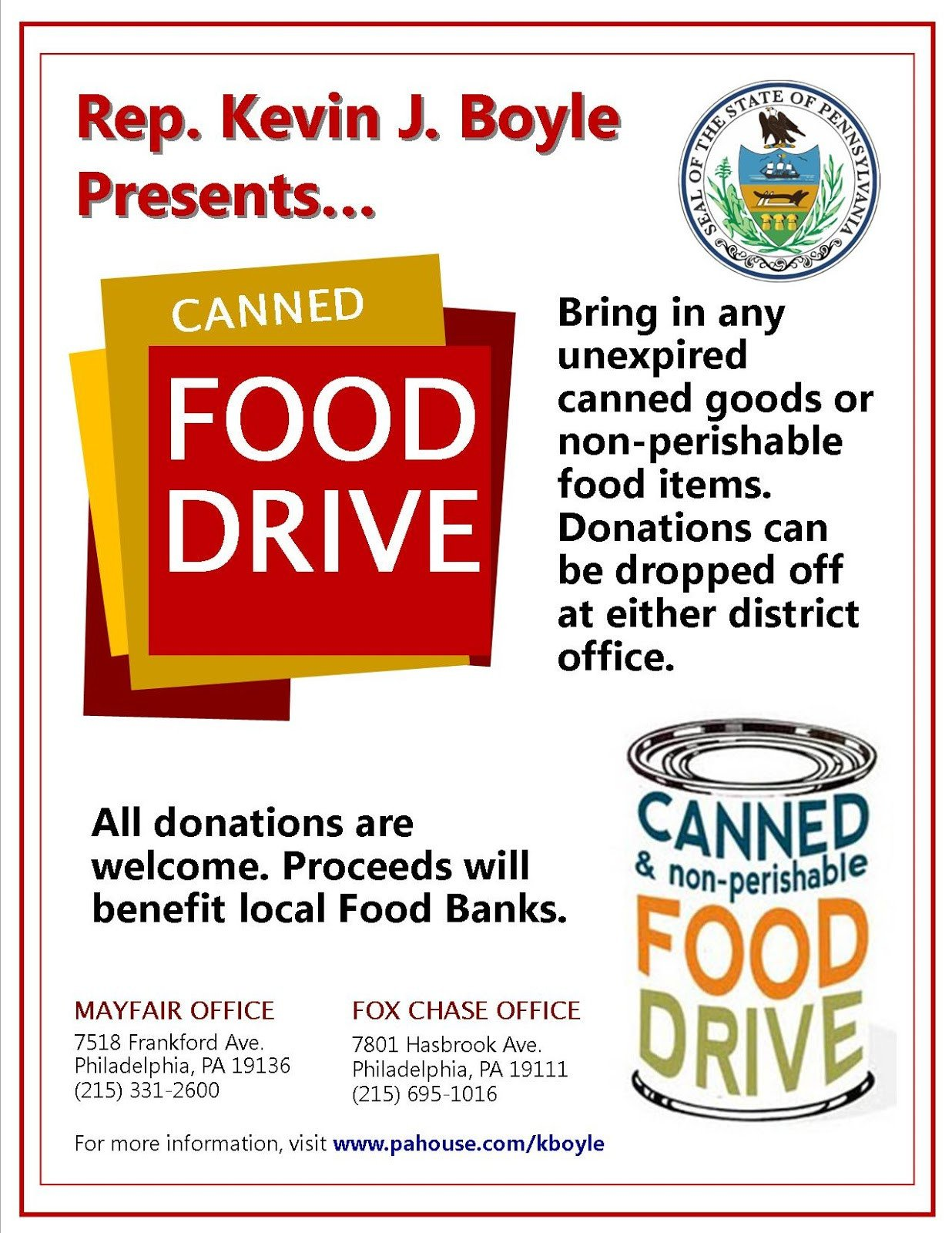 Canned Food Drive Flyer Template Mayfair Civic association December 2012
