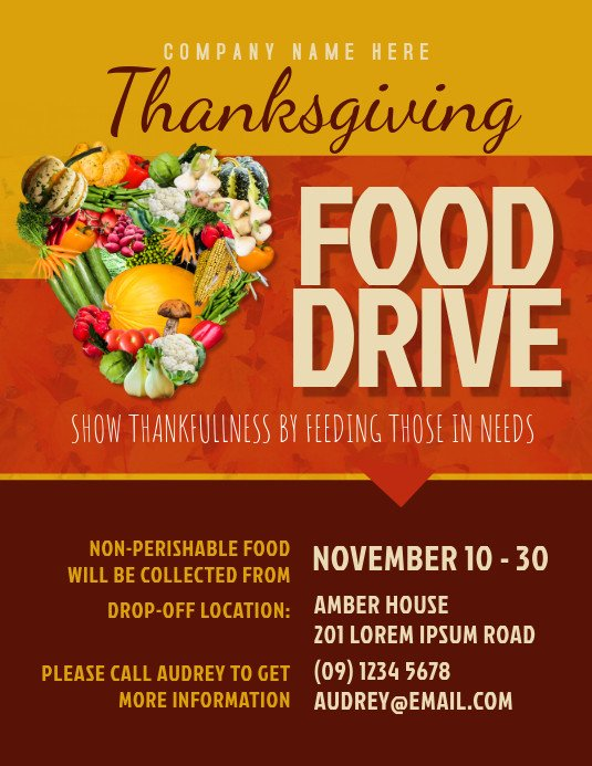 Canned Food Drive Flyer Template Thanksgiving Food Drive Flyer Template
