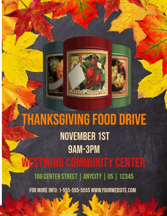 Canned Food Drive Flyer Template Thanksgiving Food Drive Template