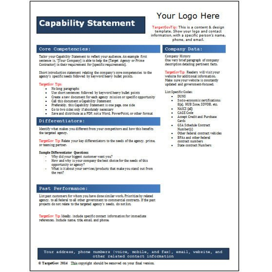 Capability Statement Template Free Capability Statement Editable Template Blue Tar Gov