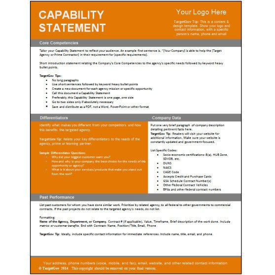 Capability Statement Template Free Capability Statement Editable Template Tar Gov