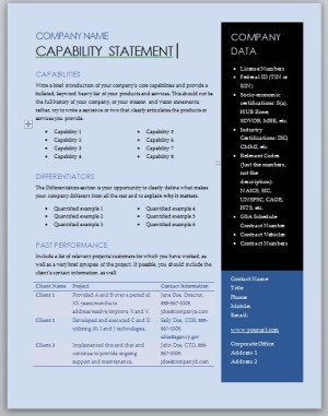 Capability Statement Template Free Get Started Quickly