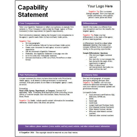 Capability Statement Template Free Tar Gov Capability Statement Editable Template Tar Gov