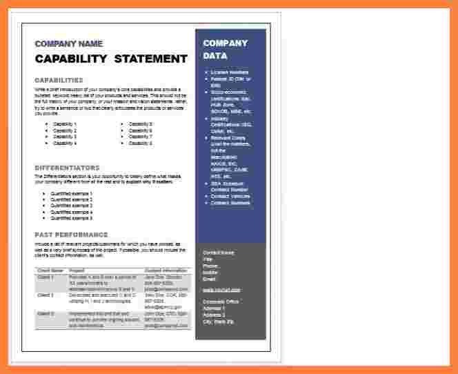 Capability Statement Template Word 5 Capability Statement Template Word